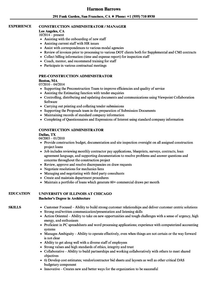 Download Construction Administrator Resume Sample As Image File