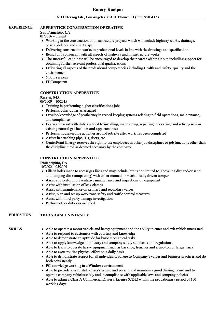 Construction Apprentice Resume Samples | Velvet Jobs