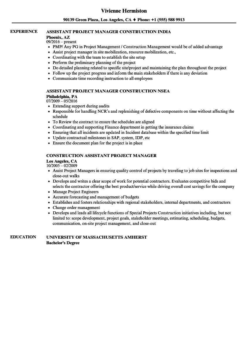 Construction Assistant Project Manager Resume Samples | Velvet Jobs