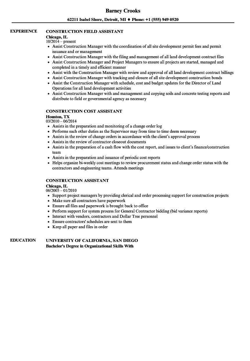 Construction Assistant Resume Samples