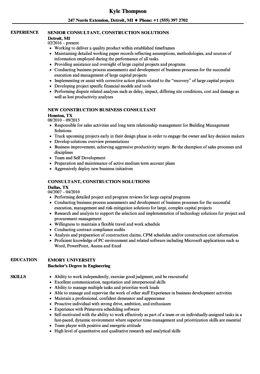 construction consultant resume samples