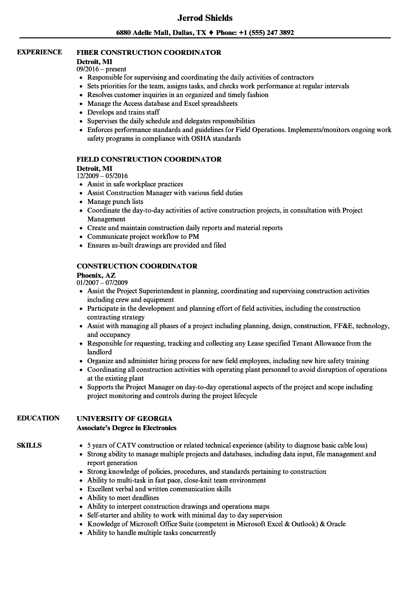 Download Construction Coordinator Resume Sample As Image File