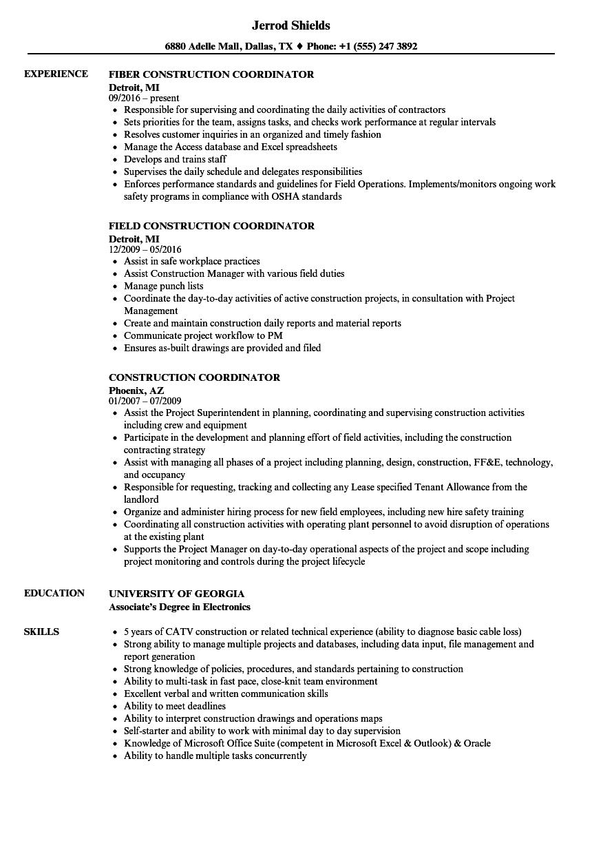 Construction Coordinator Resume Samples | Velvet Jobs