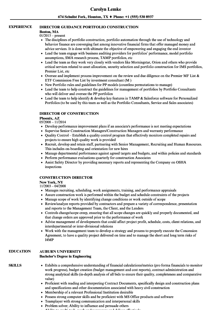 Construction Director Resume Samples | Velvet Jobs