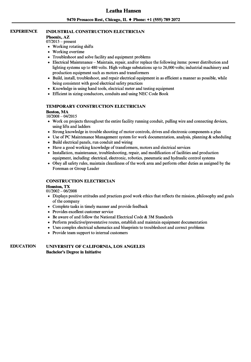 Construction Electrician Resume Samples | Velvet Jobs