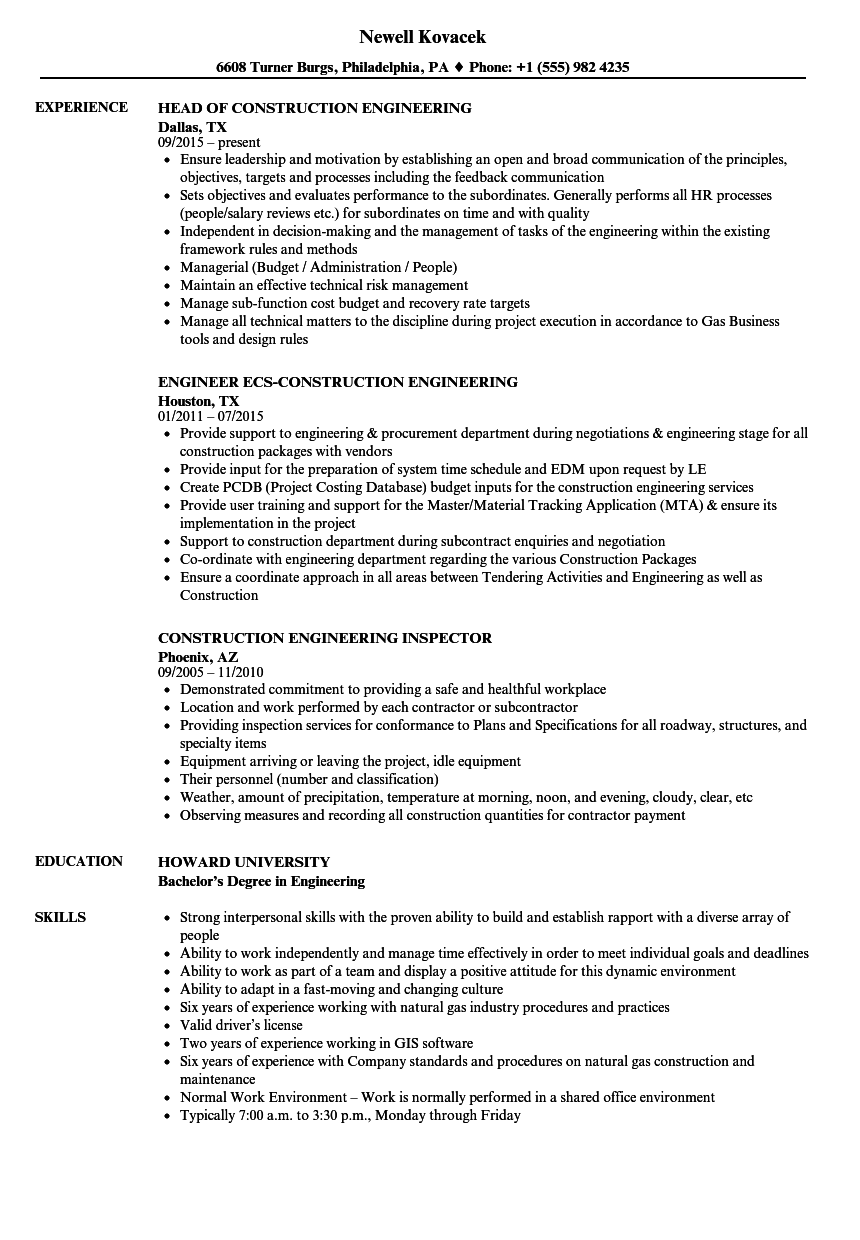 Construction Engineering Resume Samples | Velvet Jobs