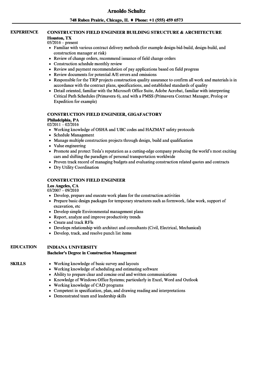 Construction Field Engineer Resume Samples Velvet Jobs