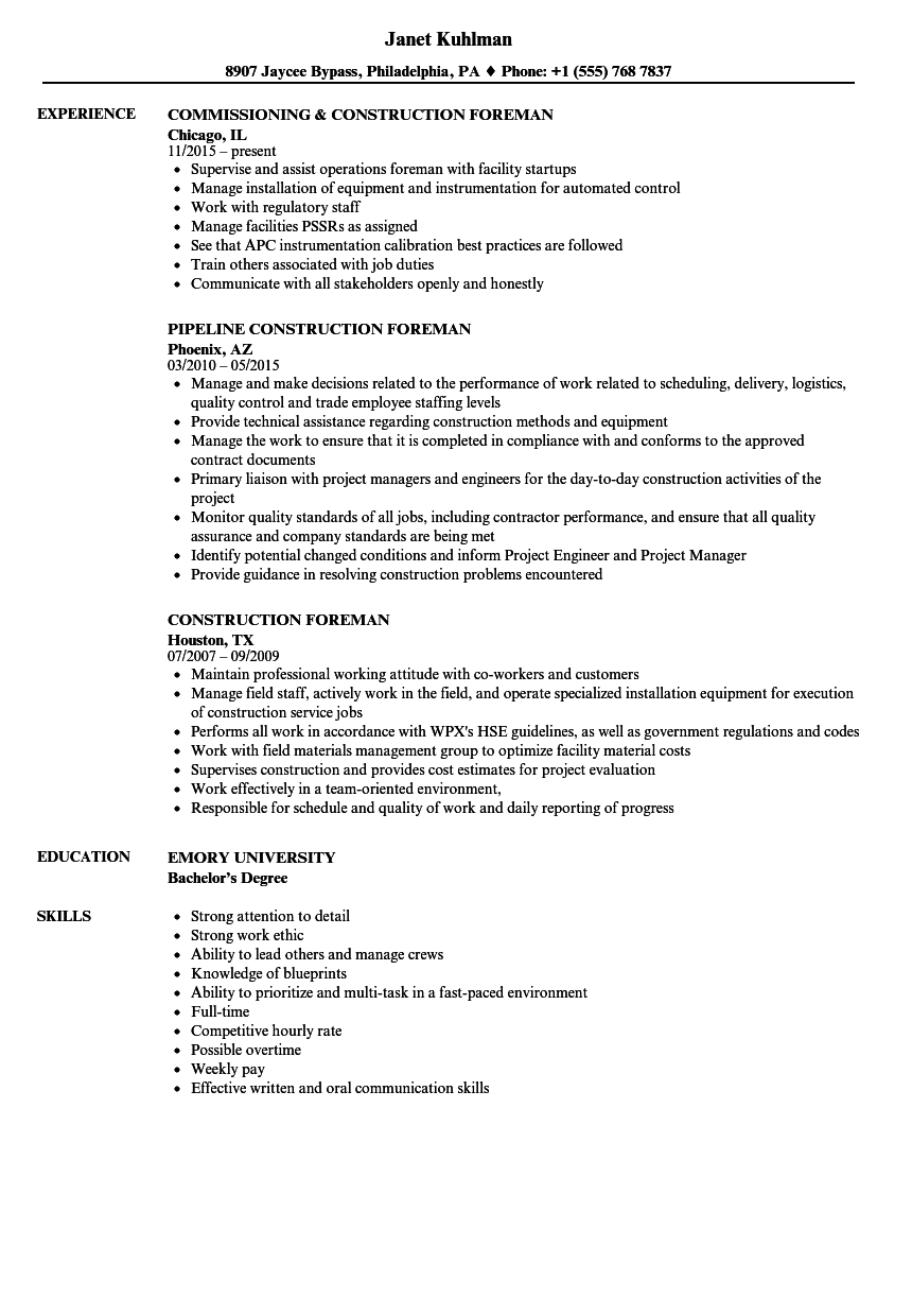 Construction Foreman Resume Samples | Velvet Jobs