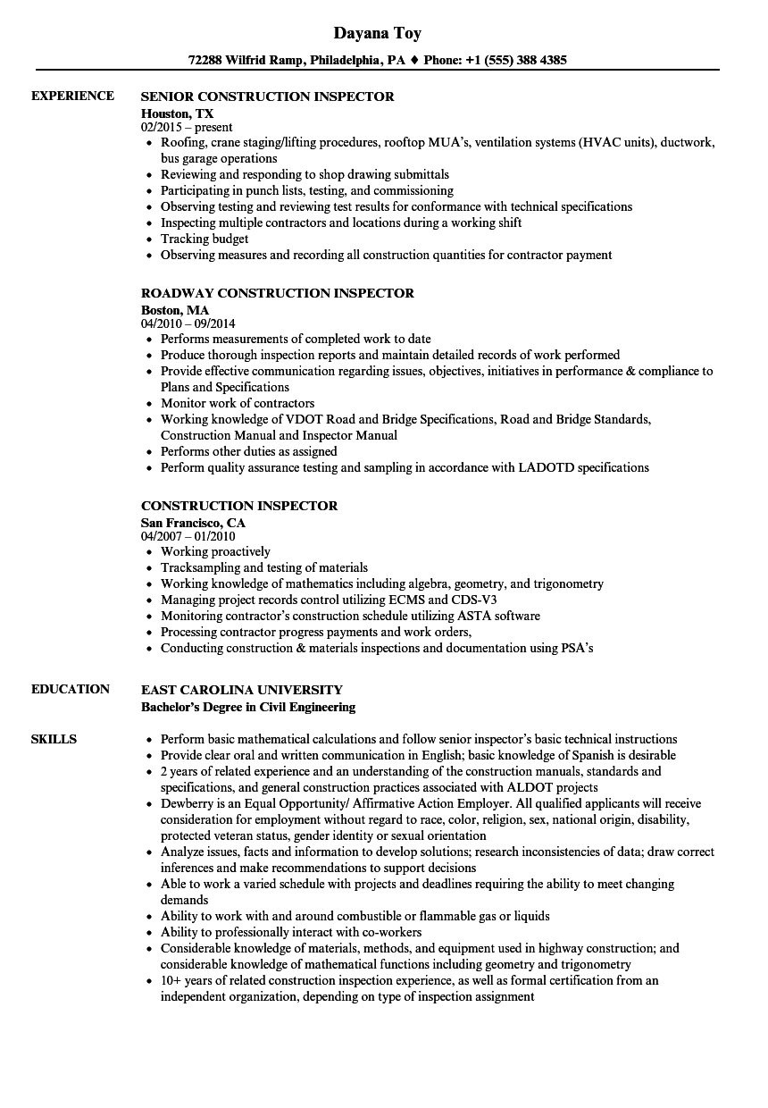 construction inspector resume samples velvet jobs