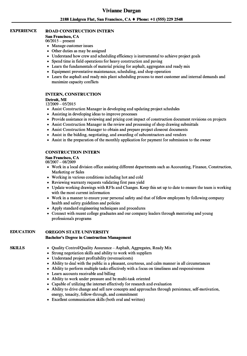 Construction Intern Resume Samples | Velvet Jobs
