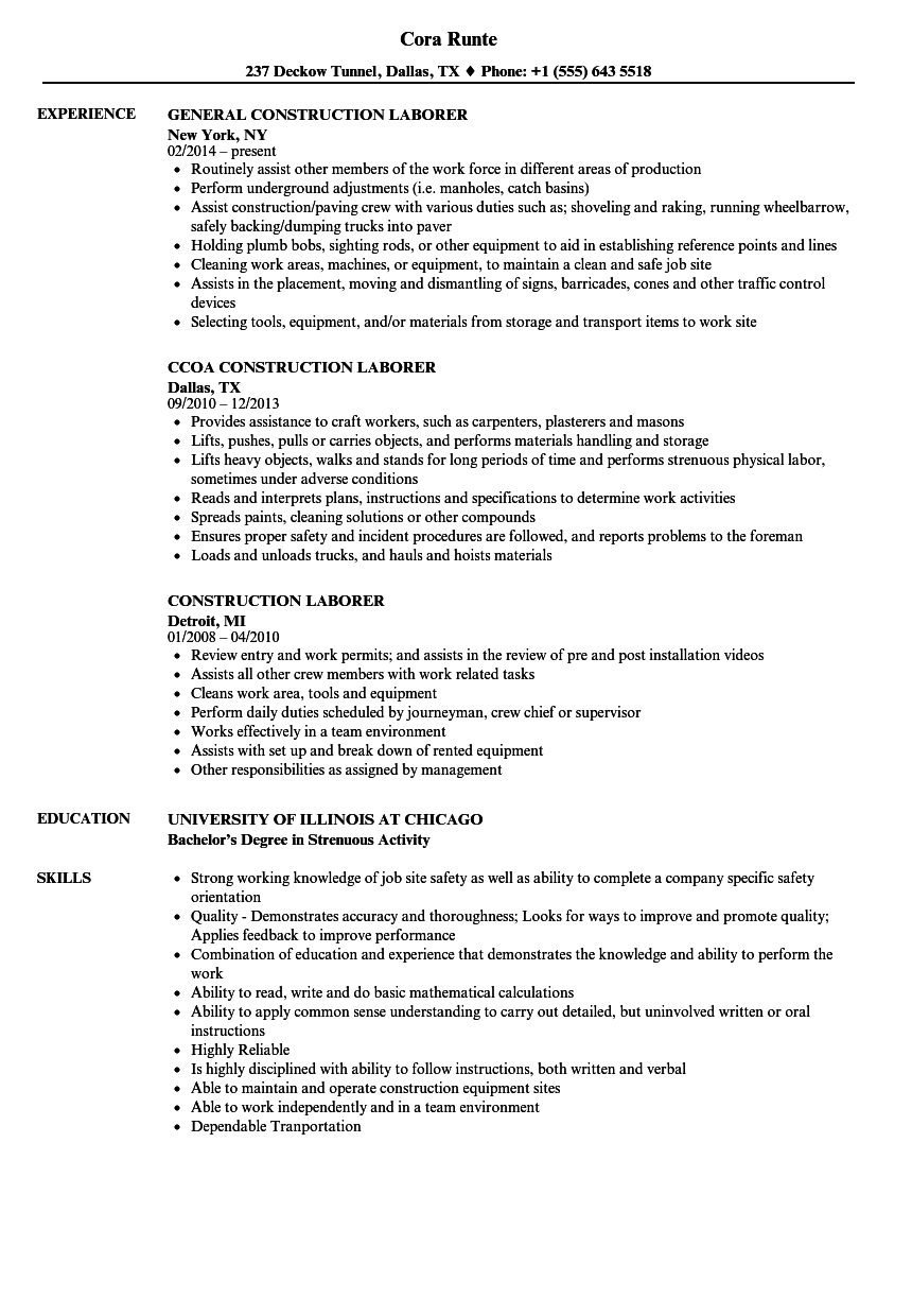 Construction Laborer Resume Samples | Velvet Jobs