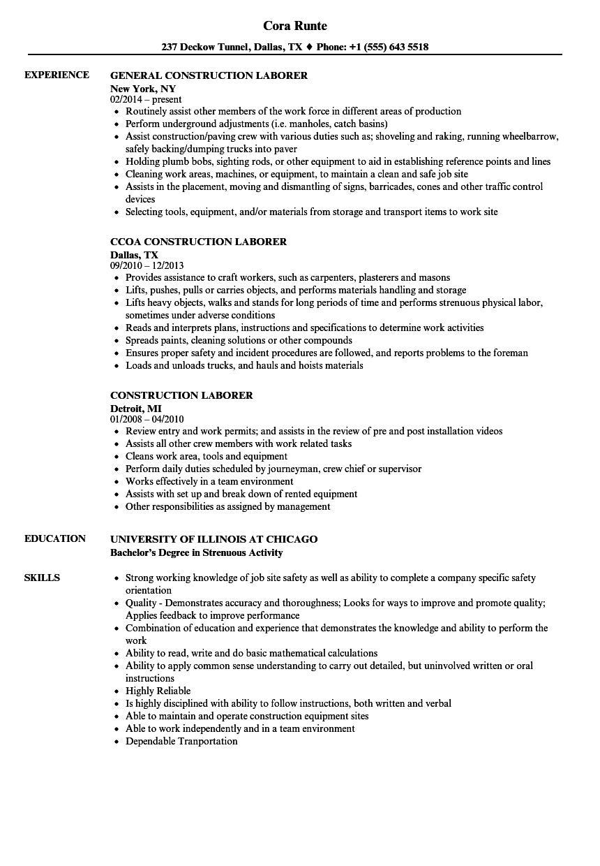 Resume Sample For Laborer