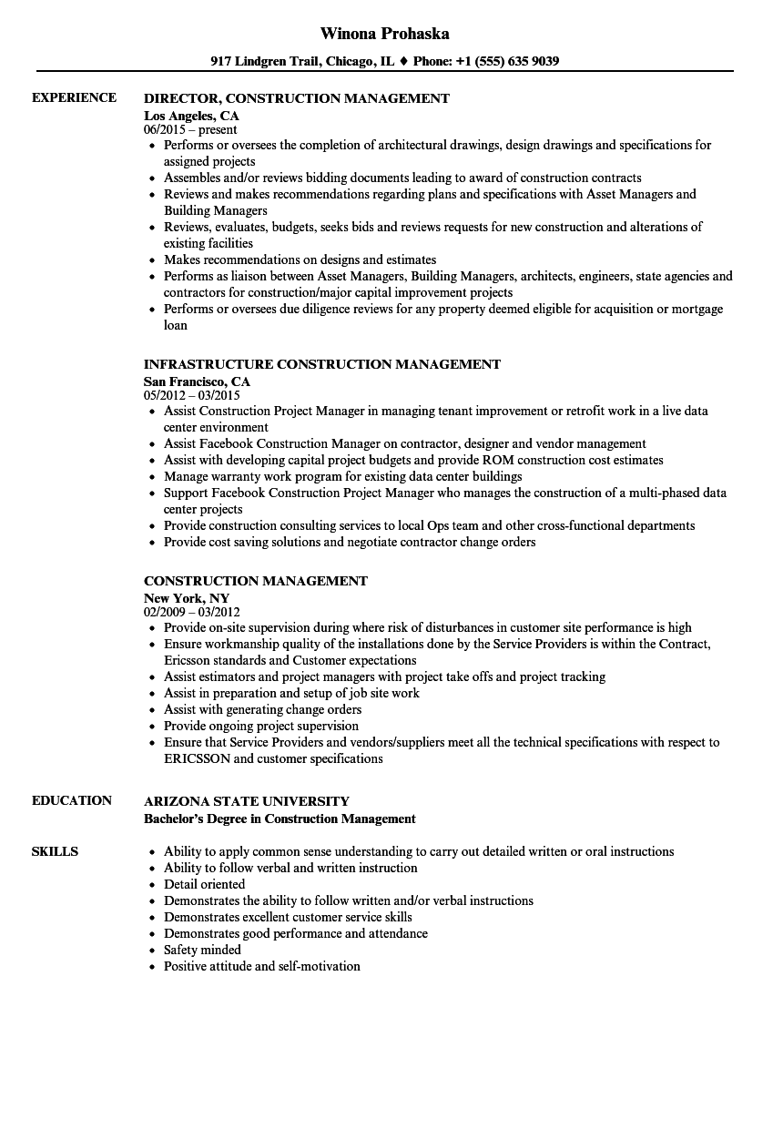 Construction Management Resume Samples Velvet Jobs