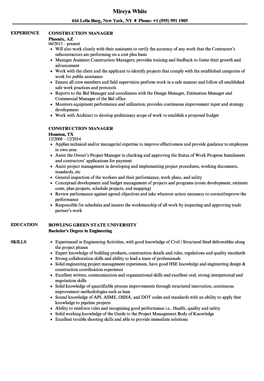 construction manager resume samples velvet jobs