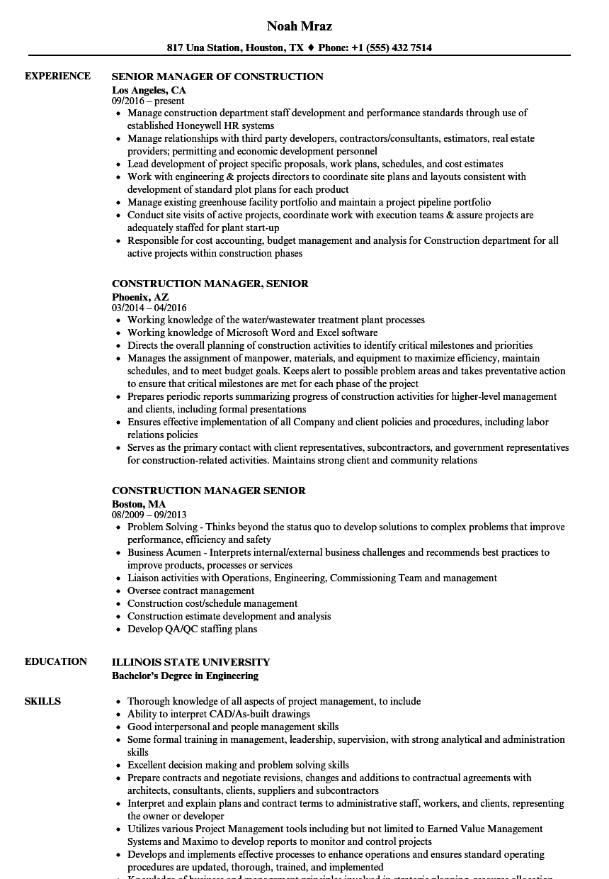 construction manager  senior resume samples