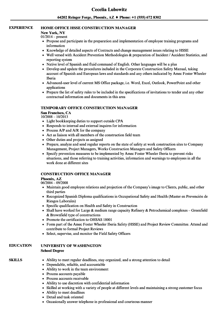 Office Manager Resume Text Format Sample Construction
