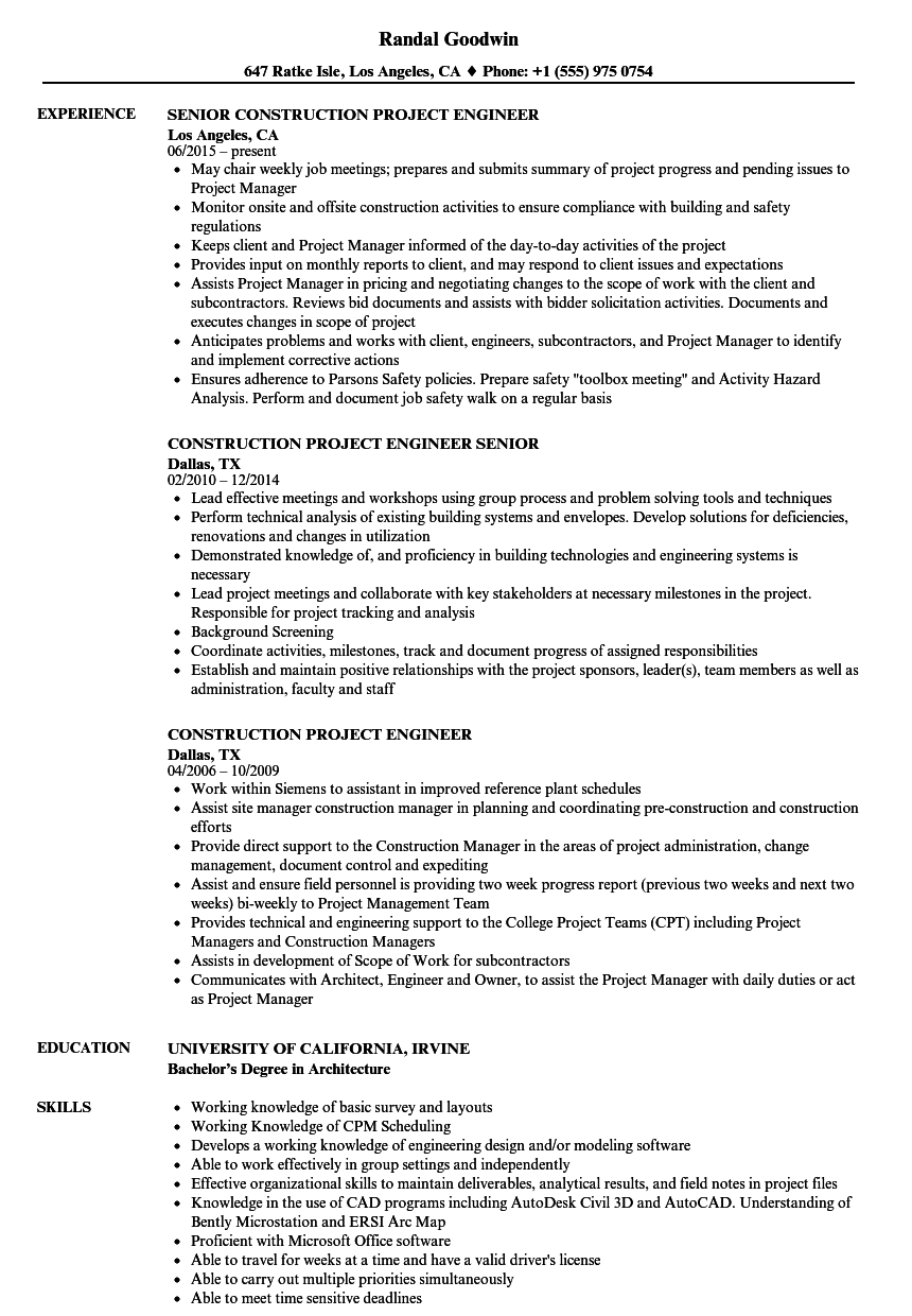 Construction Project Engineer Resume Samples | Velvet Jobs