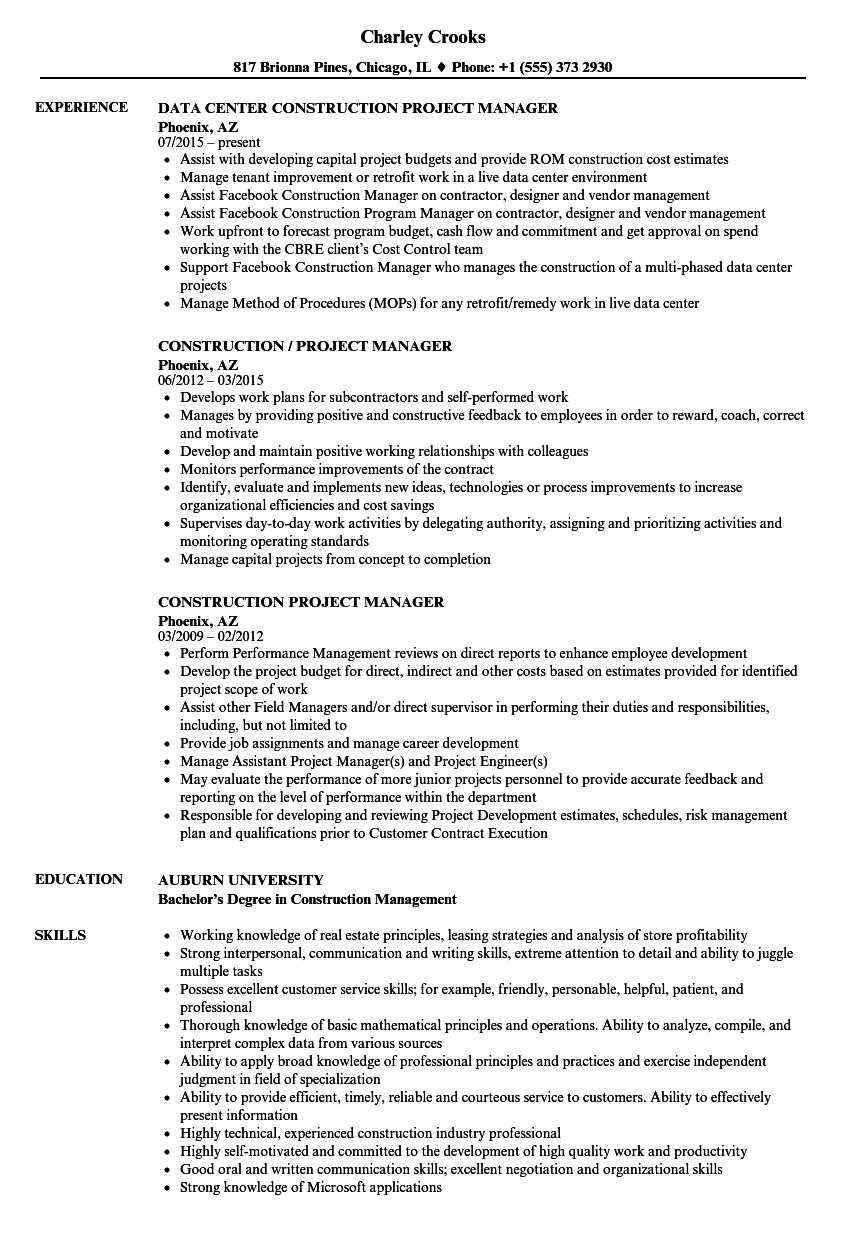 Construction Project Manager Resume Samples | Velvet Jobs