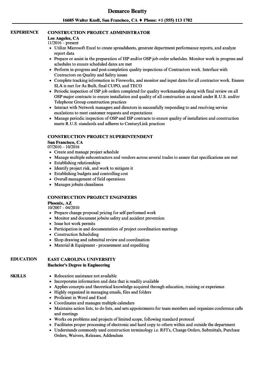 download construction project resume sample as image file - Licensing Administrator Sample Resume