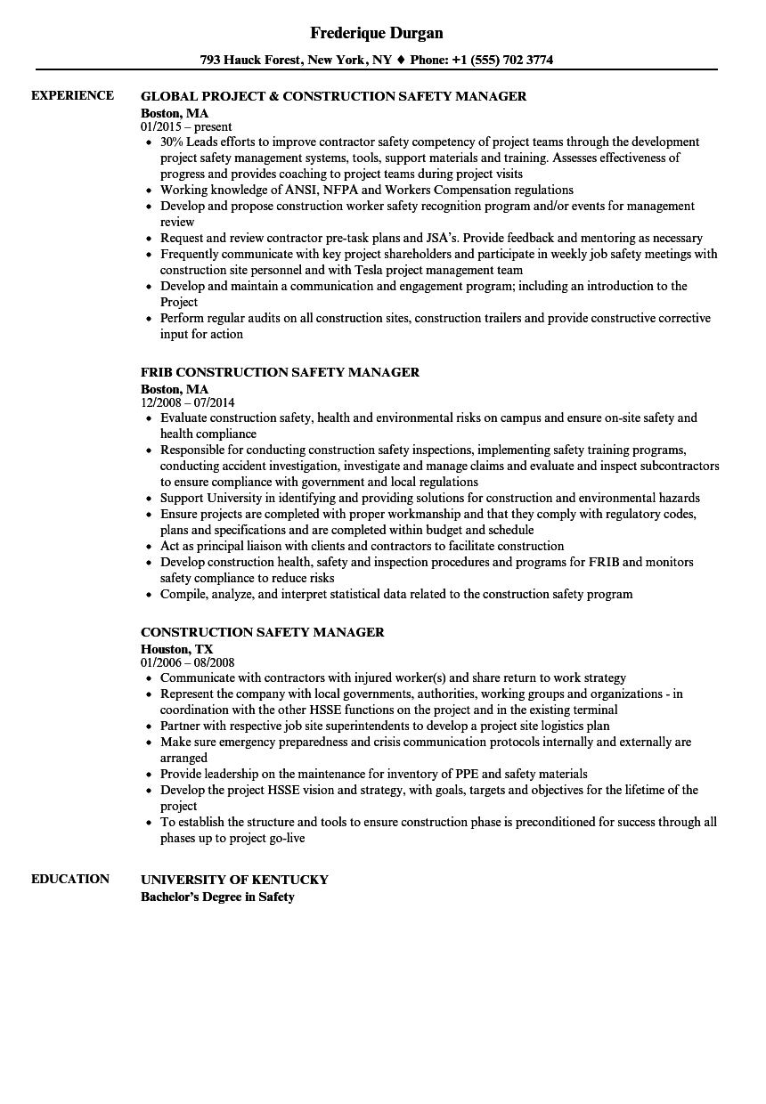 construction safety manager resume samples