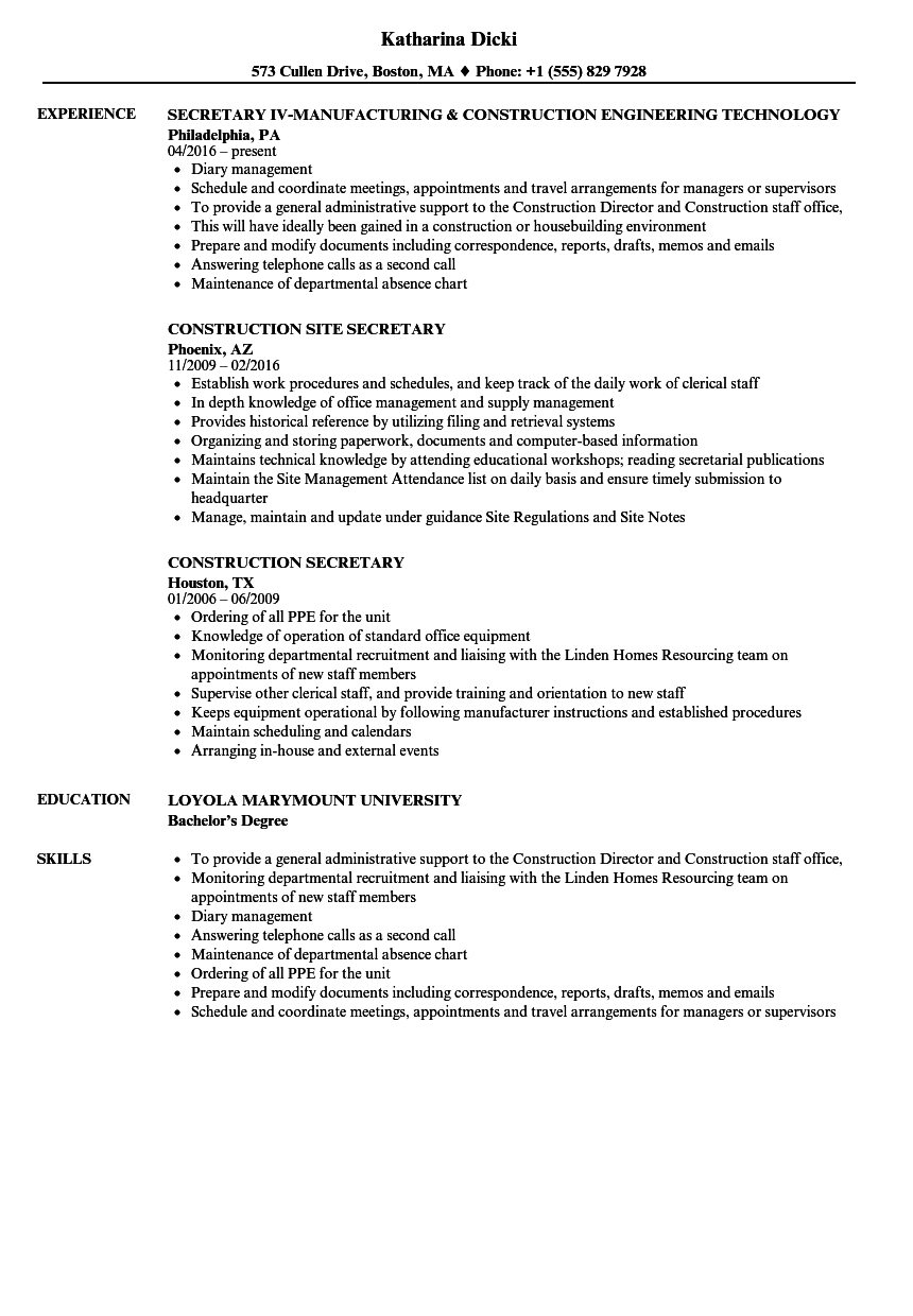Construction Secretary Resume Samples | Velvet Jobs
