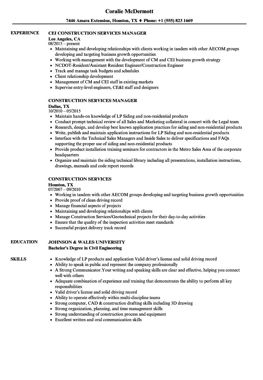 Construction Services Resume Samples | Velvet Jobs