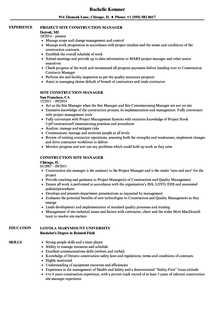 Construction site manager sample resume