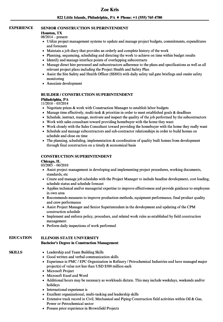 construction superintendent resume samples velvet jobs