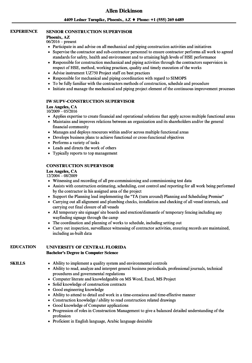 Construction Supervisor Resume Samples | Velvet Jobs