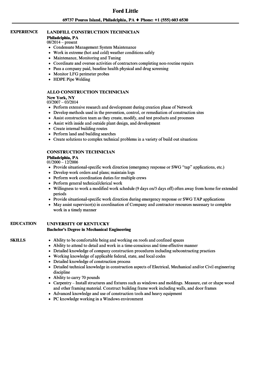 Construction Technician Resume Samples | Velvet Jobs
