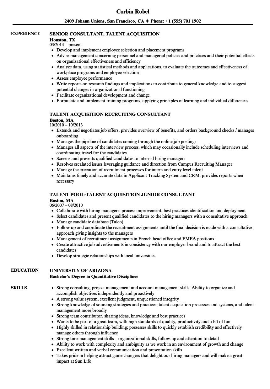 Consultant, Acquisition Resume Samples | Velvet Jobs