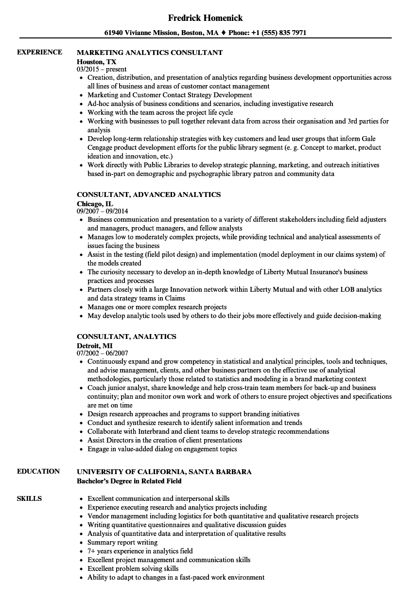 Consultant, Analytics Resume Samples | Velvet Jobs