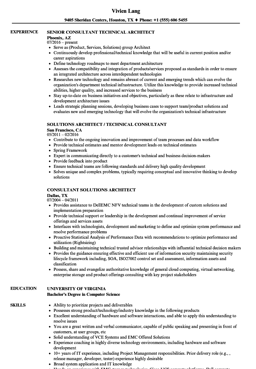 download consultant architect resume sample as image file - Sample Architect Resume