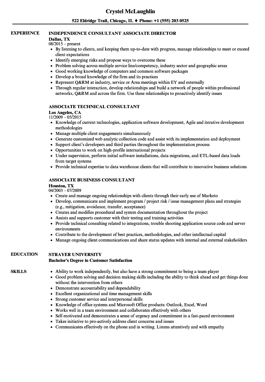 Consultant Associate Resume Samples | Velvet Jobs