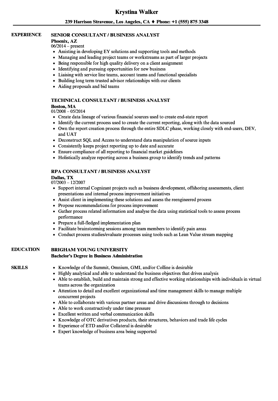 Consultant Business Analyst Resume Samples | Velvet Jobs