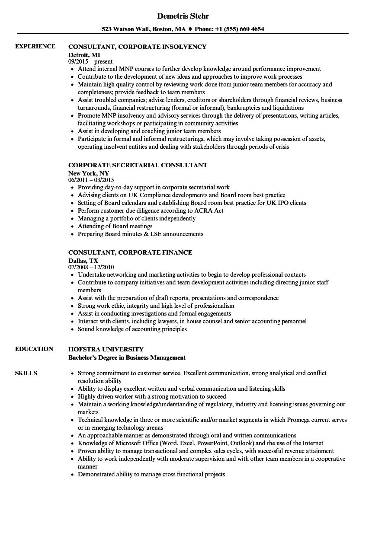 consultant  corporate resume samples