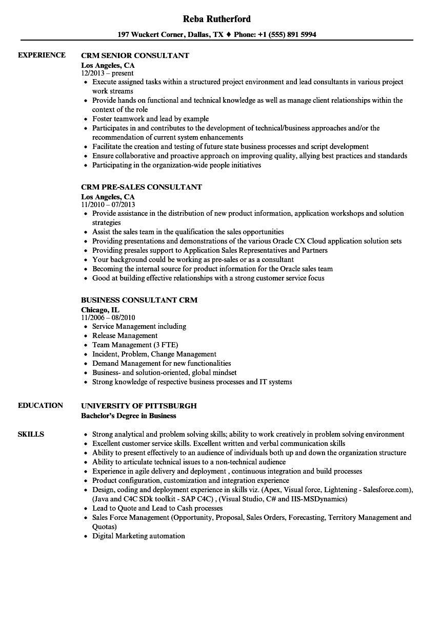 Consultant CRM Resume Samples | Velvet Jobs