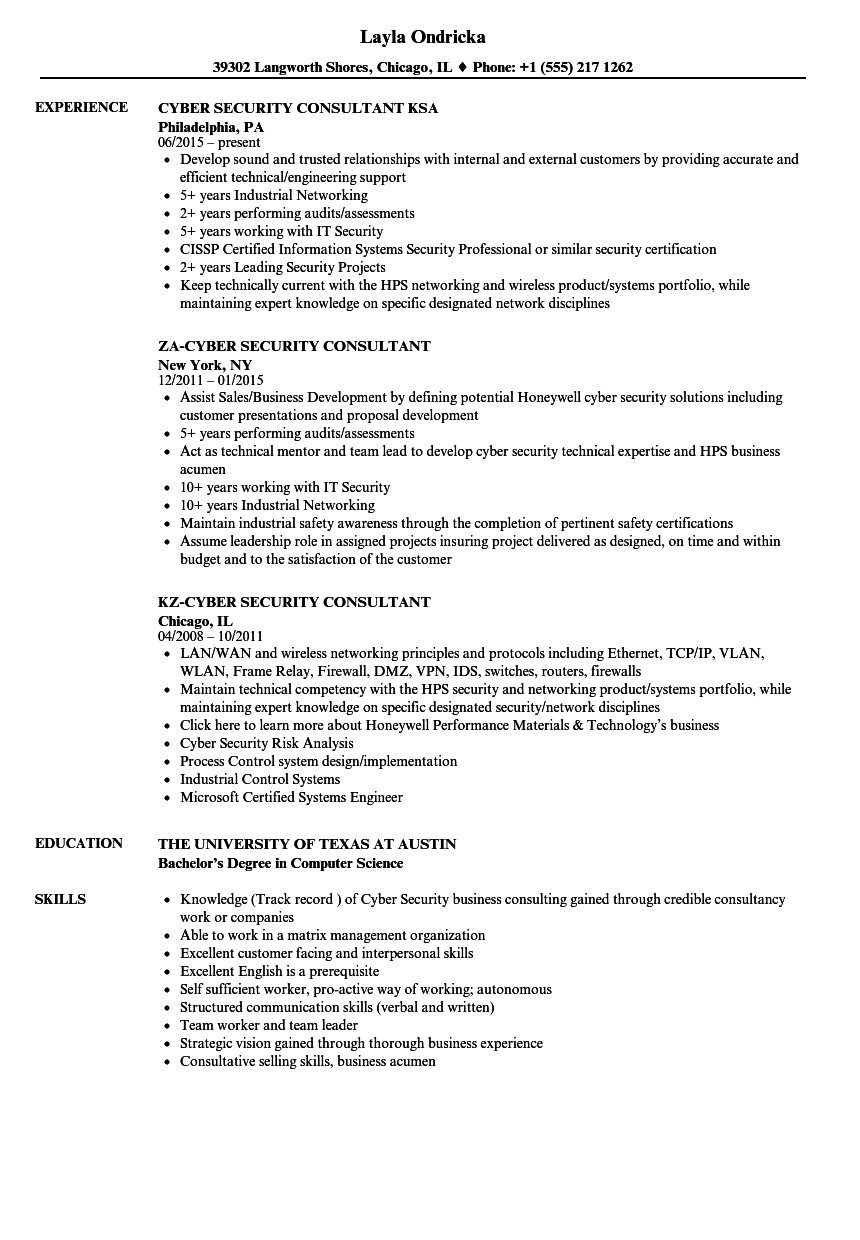 Consultant, Cyber Security Resume Samples | Velvet Jobs