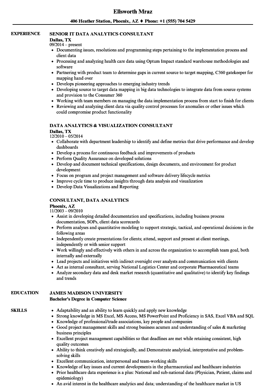Consultant Data Analytics Resume Samples Velvet Jobs