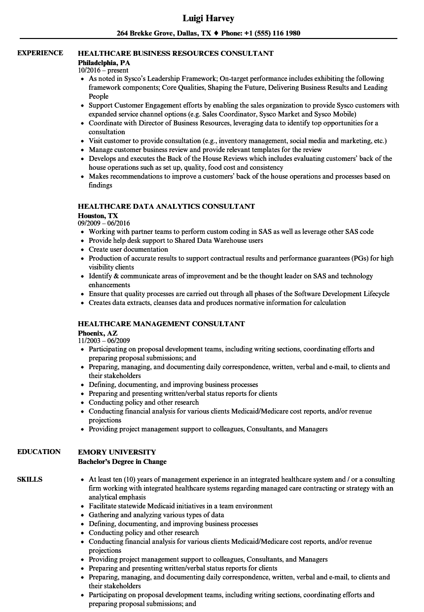Consultant Healthcare Resume Samples