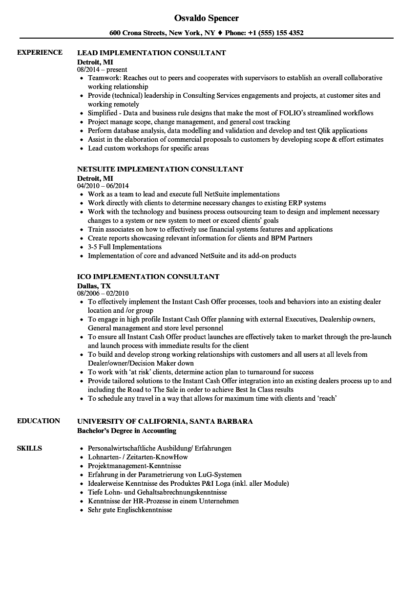 consultant implementation resume samples