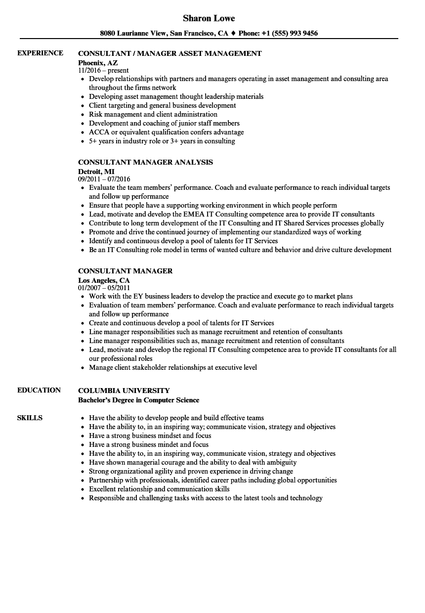 consultant manager resume samples