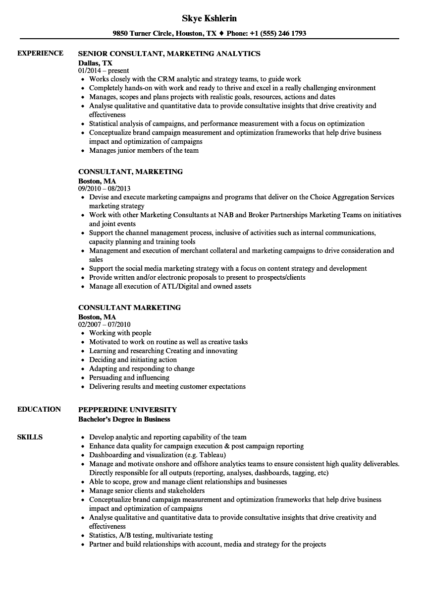 Consultant, Marketing Resume Samples | Velvet Jobs