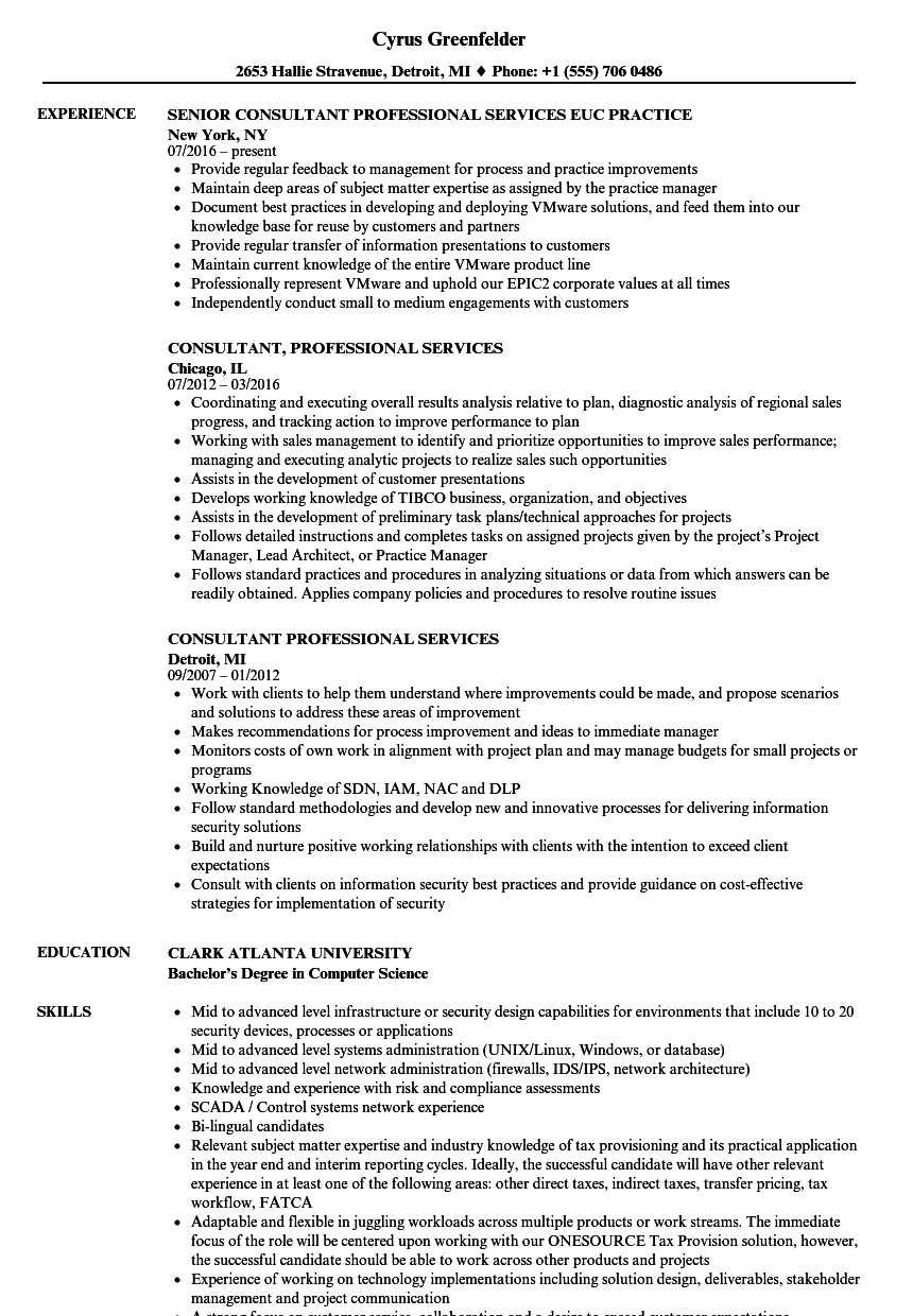 professional services consultant sle resume sle