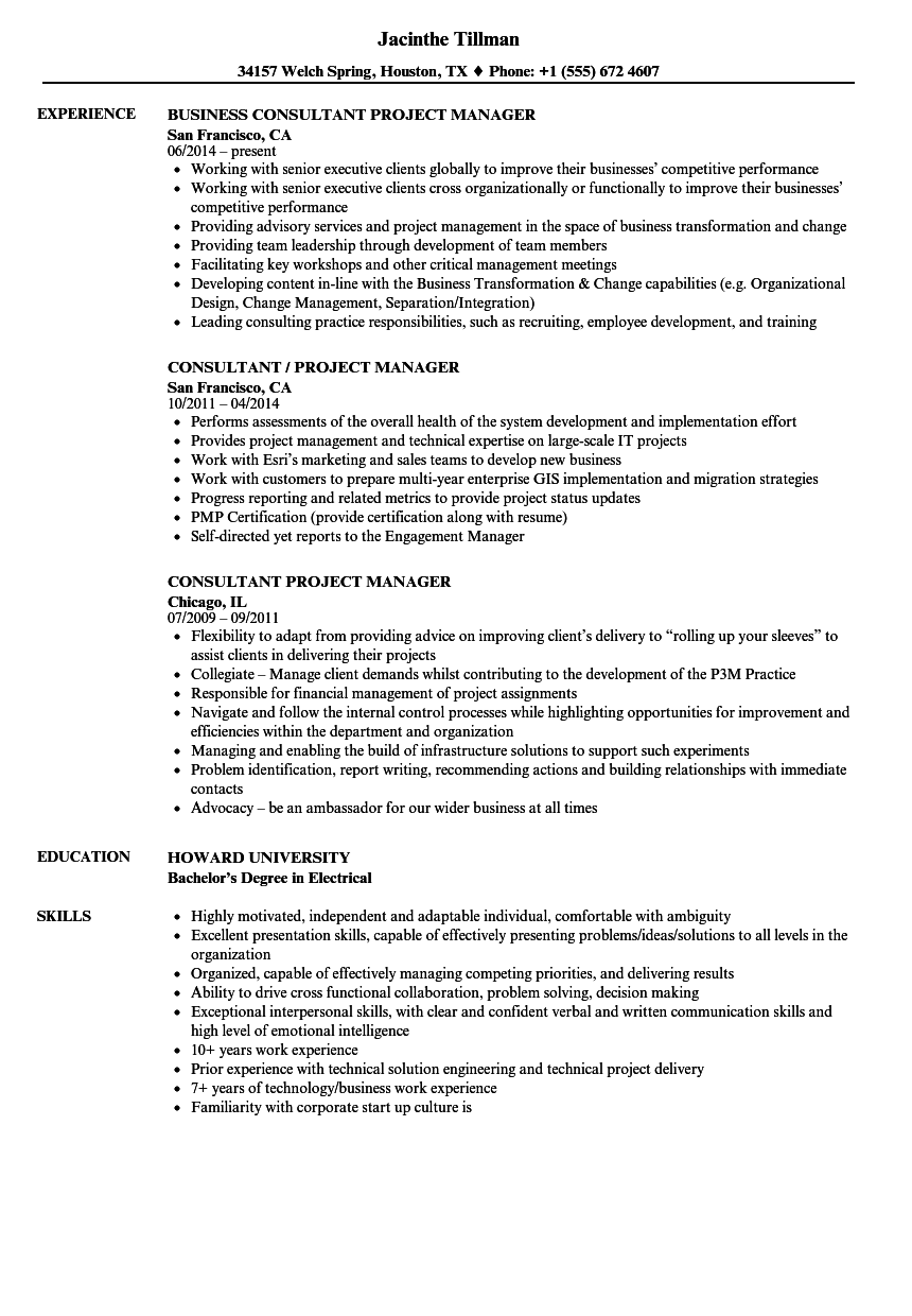consultant    project manager resume samples