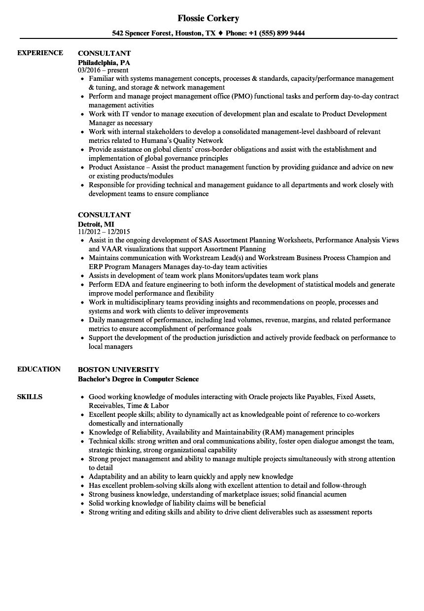 Consultant Resume Samples | Velvet Jobs