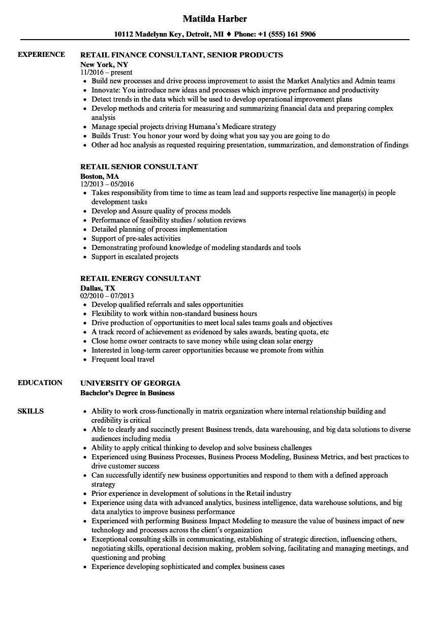 Consultant Retail Resume Samples | Velvet Jobs