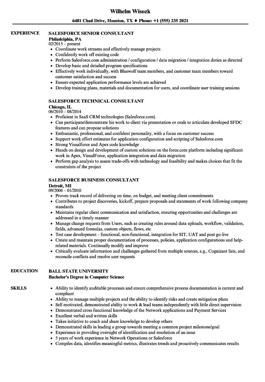 Consultant Salesforce Resume Samples Velvet Jobs
