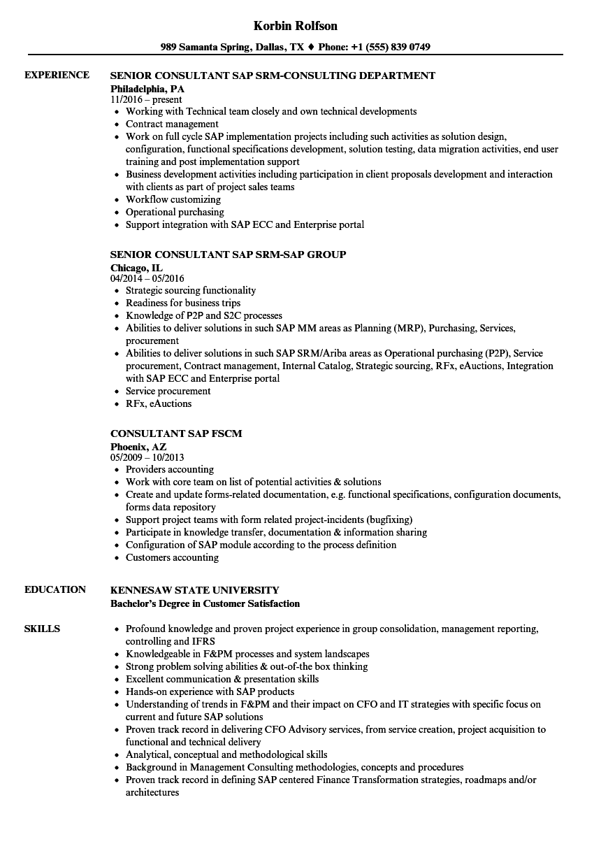 Consultant SAP Resume Samples | Velvet Jobs