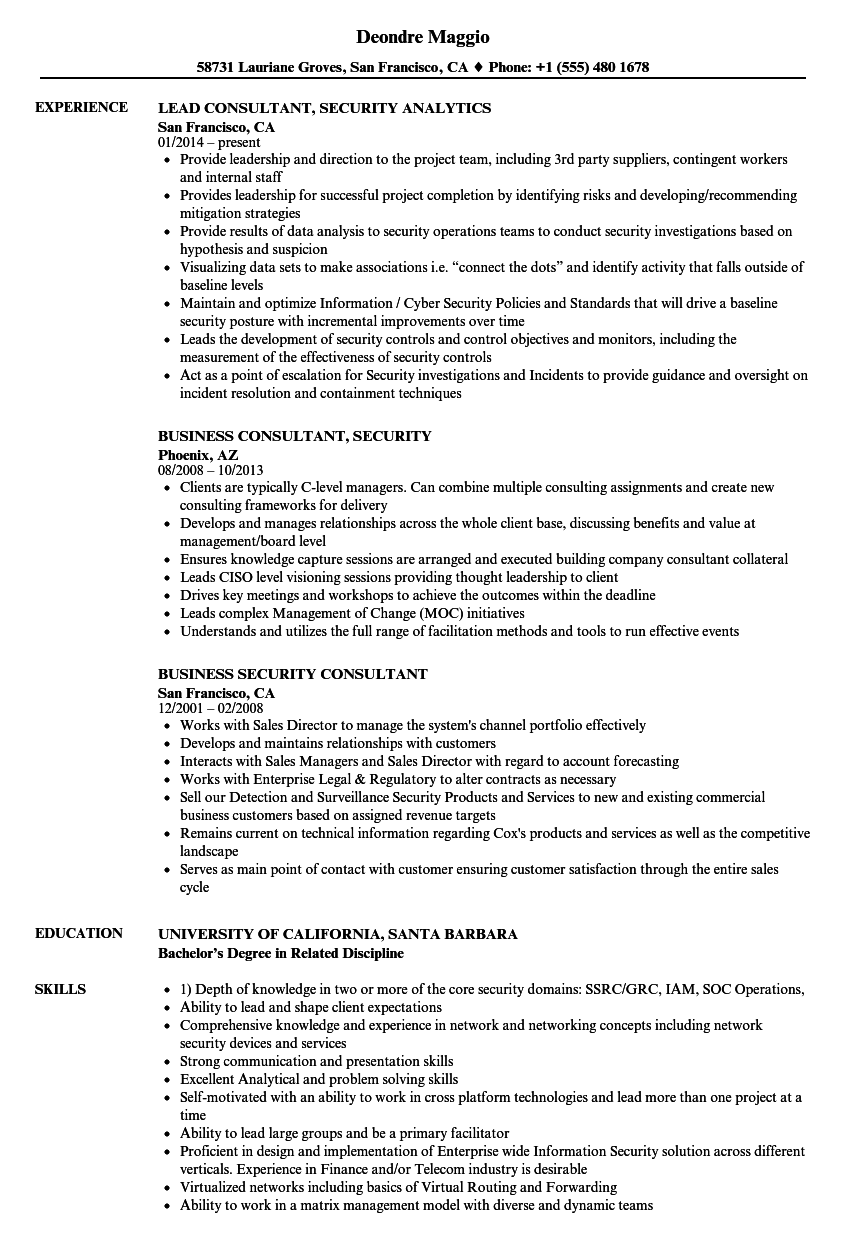 consultant security resume samples